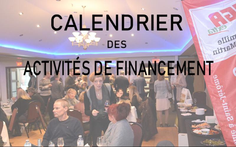 Calendrier des activités de financement